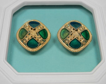Bold, Modern Green Earrings, Vintage Gold Tone Clip Ons