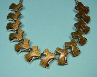 Thermoset Gold Colored Arrows Glitter Necklace,  Classic 60s