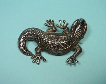 Silver Tone Lizard Brooch or Pin, Figural,  80s Vintage