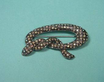 Dark Silver Tone and Aurora Borealis Snake Brooch or Pin