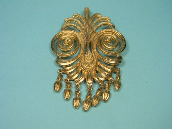 Vendome Vintage Brooch or Pin, Flamboyant Gold Tone Dangles, Classic, Elegant, Just Reduced