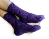 Hand knitted purple wool socks