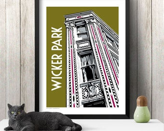WICKER PARK Chicago Neighborhood Poster