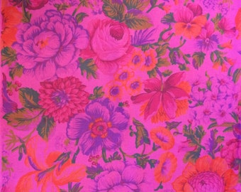 Pink Floral Cotton Fabric 2 Yards