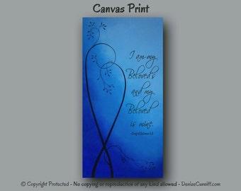 Cobalt blue, Master bedroom decor,Large wall art,Bible verse art,I am my Beloveds,Canvas art print,Tall,Contemporary artwork,Blue home decor