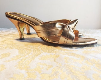 Gold Metallic Heels / Vintage 1970's Open Toe Shoes / Pumps For Weddings and Prom / Womens Shoes