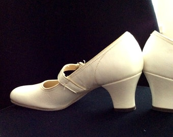 Vintage White Dance Shoes Wedding Shoes Flower Girl Shoes Leather Size 5