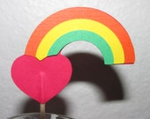 12  heart with rainbow cupcake toppers-appetizer picks-food picks-birthday cupcake toppers