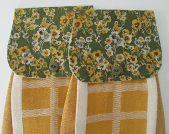Hanging Kitchen Towel Set- Yellow White Brown Light Grey Flowers Green Background Fabric  Yellow  Cotton Woven Towels Button Closure