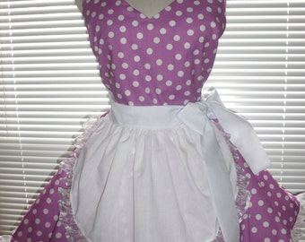 French Maid Apron Pin-up Retro Style Orchid with White Dots Flirty Skirt Sweetheart Neckline
