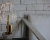 Concrete pen holder office lamp, Wired segmented desk lamp, modern desk organiser