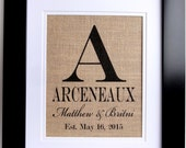 Family Print on Burlap- Personalized Burlap Monogram- Gift for Couples- Last Name and Est. Date- Weddings- Engagements
