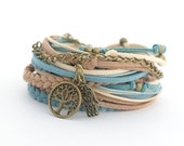 Tree of Life Wrap Bracelet, Hamsa Hand Bracelet, Yoga Bracelet, Bohemian Jewelry, Denim Brawn Caramel Boho bracelet, double wrap, boho chic