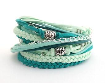 Mint Teal Bohemian Jewelry, Mint Teal Boho Wrap Bracelet, Mint Teal Bohemian Bracelet, Hippie Gypsy Bracelet, gift for her, boho chic