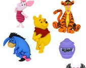 Disney WINNIE THE POOH, Hunny, Eeyore, Piglet, & Tigger Dress It Up Licensed Jesse James Buttons Or Turn them into Flatback Cabochons