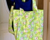 Unlined Market Tote, Green Floral Grocery Bag, Project Bag, Shopping Bag