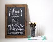11x17 Mini Chalkboard- Kitchen Chalkboard - Reclaimed Wood Framed - Wedding Chalkboard - Calligraphy