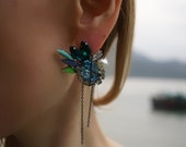 Angie - Summer Blues Cluster Statement Earrings - Made to Order