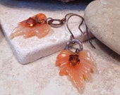 RESERVED FOR CYNTHIA   Agate Leaf Copper Earrings