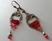 Vintage Look Red Crystal Dangle Earrings