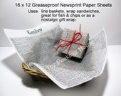 25 Greaseproof Newsprint Paper Sheets, 16 x 12, Basket Liner, Fish and Chips, Baked Goods, Sandwich Wrap, Nostalic Gift Wrap, Soap Wrap, Etc