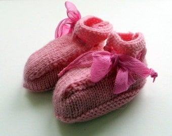 Baby shoes, shoes, shoes, pink, Ribbon, silk, Merino Wool