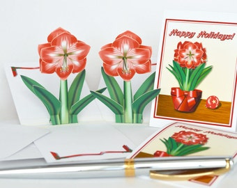 4 Holiday Amaryllis Pop-up gift cards Set of 4 floral cards