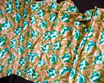 Retro Turquoise Floral Cotton Fabric with Blurred Out of Focus Effect