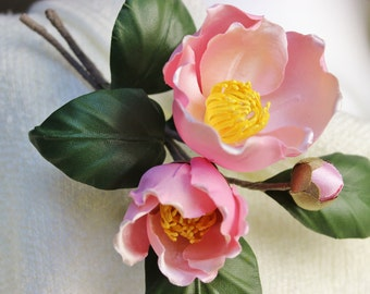 Mother of the bride corsage, fabric flowers, spring jewelry,  pink camellia brooch, spring wedding, silk flower corsage, silk camellia