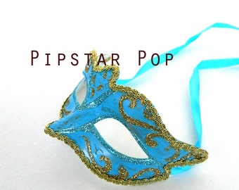 Baby Blue and Gold masquerade mask - Woman Venetian Masquerade Mask for Canivale, mardi gras, or wedding