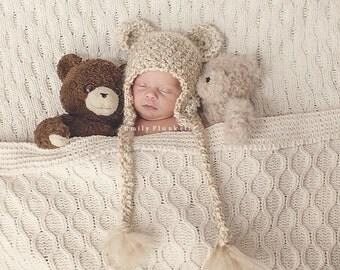 Crochet Fuzzy Tan Bear  Hat, photography prop, 0 to 3 months, crochet hat
