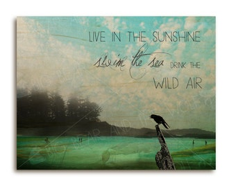 Inspirational beach art print on wood, crow silhouette with Emerson quote