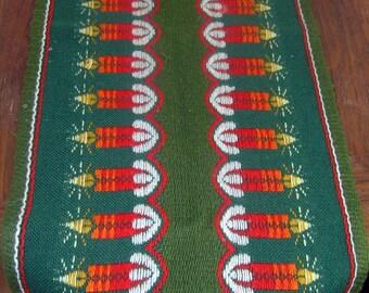 Vintage Christmas Table Runner, Retro Xmas Tablerunner, Woven Holiday Table Runner Candles, Candles Table Decoration, Christmas Table Topper