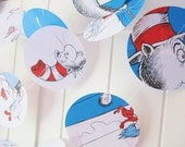 Dr Seuss, Cat in the Hat, 10ft Long Paper Circle Garland, Red, White and Blue,Storybook, Birthday, Baby Shower, Dr Seuss Bunting, Garland