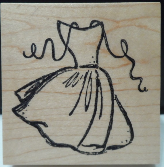 Fashion dress silhouette rubber stamp wood by for Wedding dress rubber stamp