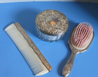 Vintage 1950's Silver Plated Vanity Set, Brush, Comb and Powder Box, Mirror