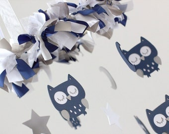 Navy Blue Owl Nursery Mobile- Baby Mobile, Baby Shower Gift