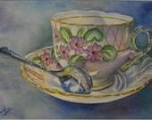 Original Painting Miss Primrose Teacup Art GIFT