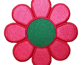 Hippie Flower Groovy Pink & Green Daisy Iron On Applique Patch