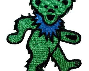 Grateful Dead Smaller Green Dancing Bear Rock Band Icon Iron On Applique Patch