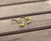 HOPE earrings • brass & little glass beads in green and beige