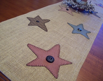 Clearance! SALE SALE SALE Rustic Country Stars Burlap Table Runner