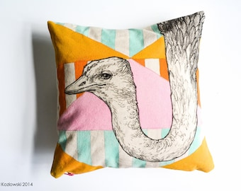 Ostrich - Hand Painted Pillow Case - One of a Kind