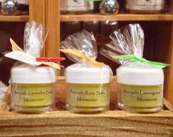 AVOCADO MOISTURIZER FAVORS - Avocado Lavender / Lemongrass / Rose Minis - Lip Balm / Travel Size / Bridal Shower Favors