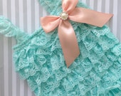 Baby Girl Lace Romper-aqua Lace romper-aqua petti dress-baby outfit-1st birthday baby-aqua and peach baby outfit-photo prop-baby shower gift