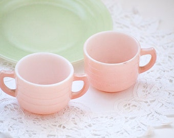 Vintage Pieces From a Childs Tea Service, Pink and Green