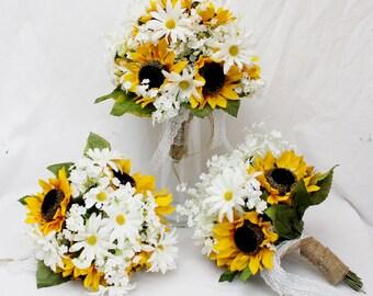 Wildflower Bouquet, Rustic Wedding Bouquet, Sunflower Bouquets, White Daisies Bouquet, Rustic Wedding Bouquet, Sunflower Rustic Barn Wedding