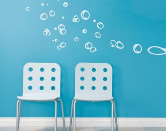 Floating Bubbles Wall Quote Decal - Bathroom Wall Decal, Bubble Bath Decal, Blowing Bubbles, Bubble Bath Art, Bubble Decal, Underwater Decal