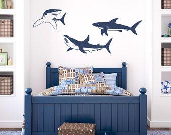 Shark Trio Wall Decal - Shark Decal, Shark Wall Sticker, Shark Decor, Underwater Decal, Ocean Decal, Nursery Ocean Art, Shark Art