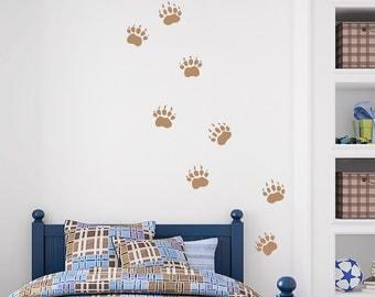 Grizzly Bear Tracks -Vinyl Wall Decal, Bear Decal, Paw Print Decal, Grizzly Bear Art, Nature Wall Decal, Grizzly Art, Animals Tracks